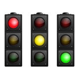 Set of Vector Traffic Lights isolated on white Royalty Free Stock Photos