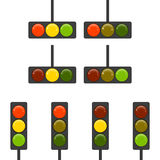 Set of Vector Traffic Lights on a white background. Stock Photography