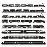 Set of vector trains.  Stock Images