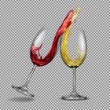 Set vector transparent glasses with white and red wine with a splash out of them Royalty Free Stock Image