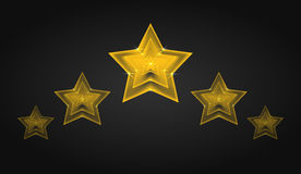 Set of vector transparent golden stars with glitter Royalty Free Stock Photography