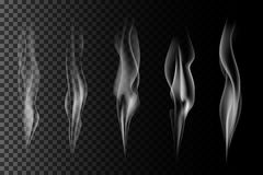 Set of vector transparent gray smoke. Realistic steam on dark background Royalty Free Stock Image