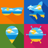 Set of vector travel backgrounds. Summer landscape with sea, sun, clouds, sand beach. Stock Images