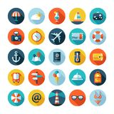 Set of vector travel flat design icons with long Stock Photography