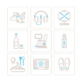Set of vector travel icons and concepts in mono thin line style.  Stock Images
