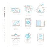 Set of vector travel icons and concepts in mono thin line style.  Stock Photography