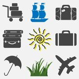 Set of vector travel icons. Icons vacation, suitcase, umbrella a. Nd sun grass boat Stock Photography