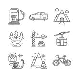Set of vector travel icons sketch style Royalty Free Stock Image