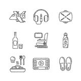 Set of vector travel icons in sketch style Stock Photography