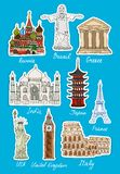 Set of vector travel landmarks icons Stock Photography