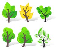 Set of vector trees Stock Photography