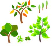 Set of vector trees Royalty Free Stock Images