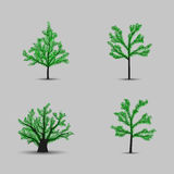 Set of vector trees black silhouettes with leaves Royalty Free Stock Photo