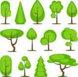 Set of vector trees Stock Photos