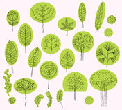Set of vector trees symbols,sketch of tree pattern for exterior Royalty Free Stock Photography
