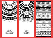 Set of vector trendy banners with hand drawn doodle ornament Royalty Free Stock Images