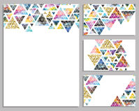 Set of vector trendy cards. Cards with triangles.  Label. Stock Photography