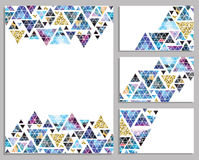 Set of vector trendy cards. Cards with triangles.  Label. Royalty Free Stock Photography