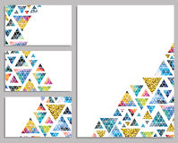 Set of vector trendy cards. Cards with triangles.  Label. Royalty Free Stock Images