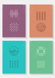 Set of vector trendy cards with geometric icons Royalty Free Stock Photography