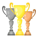 Set of vector trophy champion cups in gold, silver and bronze. Championship prizes for first, second and third place. Victory symbols isolated on white Stock Image