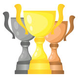 Set of vector trophy champion cups in gold, silver and bronze. Championship prizes for first, second and third place. Victory symbols isolated on white Royalty Free Stock Photos