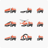 Set of vector truck. Set of vector icons trucks of different shapes and sizes. Trucks, construction equipment Stock Photos