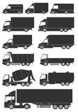 Set of vector trucks icons Royalty Free Stock Photos