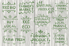 Set of VECTOR typographic elements on light wooden background. Farmers market, farm fresh eco food on white background. Set of VECTOR typographic elements on Royalty Free Stock Photo
