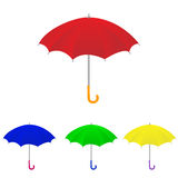 Set of vector umbrella. Four umbrella :red, blue, yellow and green Royalty Free Stock Image