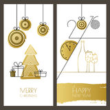 Set of vector universal hand drawn Christmas, New Year greeting Royalty Free Stock Photo