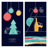 Set of vector universal hand drawn greeting cards for Christmas Royalty Free Stock Images