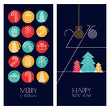 Set of vector universal hand drawn greeting cards for Christmas. And New Year. Linear gifts icons and multicolor watercolor background. Trendy design for winter Royalty Free Stock Photo