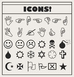 Set of vector Universal Outline Icons For Web and Mobile. Smiles, hands, religion, skull, bomb Royalty Free Stock Image