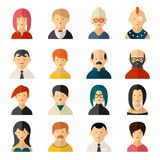 Set of vector user interface avatar icons. Set of sixteen different colorful vector user interface avatar icons with diverse men and women  old and young Royalty Free Stock Image