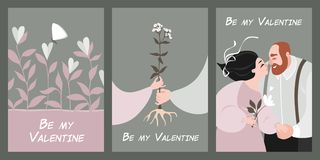 Set of vector valentine`s day cards in vintage style stock photo
