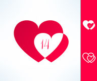 Set of vector valentines couple sign with two hearts and fourteen date inside. Love and romance design element.  royalty free illustration