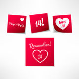 Set of vector valentines day note stickers with message. Paper reminder design element Stock Images