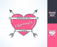 Set of vector valentines hipster design with ribbon, heart and arrows. Love and romance design element Stock Photo
