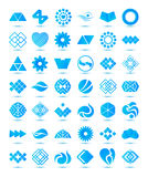 Set of vector various geometrical abstract icons,. Signs, symbols, logos collection with shadows isolated Stock Image