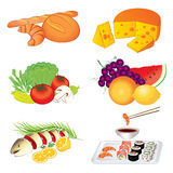 Set of vector various tasty food on white background Stock Photo