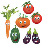 Set of Vector Vegetables Character. Illustration Collection of Animated Tomatoes, Peppers, Pumpkin, Eggplant and  Carrot Characters with Facial Expressions. 3D Stock Photo