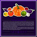 Set of vector vegetables elements for infographics.  vegetables. Fresh and healthy food. Diet. Tomato, yellow pepper, mushroom, pumpkin Stock Images