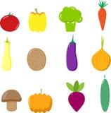 Set vector vegetables, mushroom Stock Images