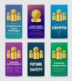 Set of vector vertical banners for crypto currency with differen. T gold coins. Template for web design, business and financial technologies Stock Image