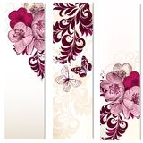 Set of vector vertical banners with flowers Stock Images