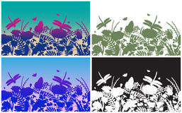 Set of vector vertical borders with dragonflies, butterflies, flowers and plants. Monochrome silhouette. Seamless nature Royalty Free Stock Photos