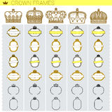 Set of vector vignettes with the royal crown Stock Images