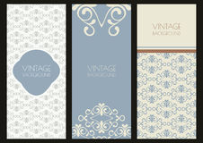 Set of vector vintage banner template with flourish ornaments. Stock Photos