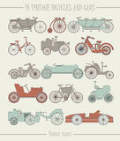 Set of vector vintage cars and bicycles icons. Can be used for covers, cards, tops , greeting card, covers, web pages and more creative designs Royalty Free Stock Images